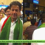 Imran Khan waiting in the queue for boarding at Karachi Airport Sep 21st 2014 http://t.co/pYv1SB5Y76