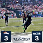 RT @Seahawks: We're tied up after one here at @CenturyLink_Fld. Broncos have 3rd & 10 to start the second. #DENvsSEA