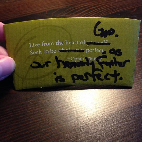 Pulled a @drewdyck (http://t.co/cAU0B7zlGe) at @Starbucks today… #sanctification http://t.co/IEunICrGcD