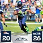 RT @Seahawks: TOUCHDOWN SEAHAWKS!!! @MoneyLynch dives over FTW! Seattle 26-20 in #OT. #DENvsSEA http://t.co/3nF7w0h932