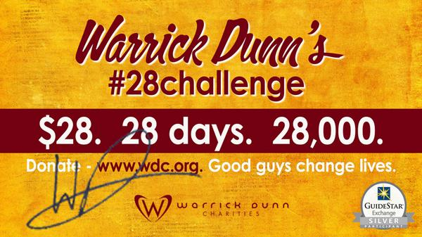 @WarrickDunn issues #28challenge. Donate at http://t.co/THHS7Nkj7P RT @espn @YahooSports @TheUrbanDaily @peoplemag http://t.co/HJc8VpVzhV