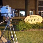 Our @kmov camera outside #Ferguson City Hall. Could be the same deal in 12 hours. Why? Details at 5:30 on #n4tm http://t.co/f7cwQveI4t