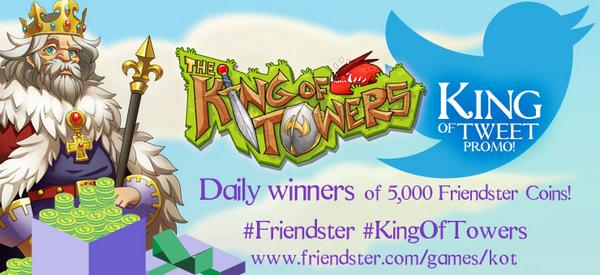 Tweet and win 5,000 Friendster coins daily! Learn more about it here: http://t.co/Pz9RqsVhWe  King of Tweet promo! http://t.co/rZDCABmuLD