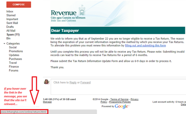 Have you received an email from the Revenue Commissioners today?  It's a scam! http://t.co/yvSyVViNqr http://t.co/p8cld07G4S