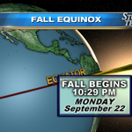 Fall officially starts at 10:29pm. (It will be a rainy first week of fall.) What does Fall mean to you? http://t.co/gaZIcCP6hU