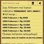 RT @UpJasa: JUAL FOLLOWERS INDONESIA PERMANEN Human Minat.? HUB : 0819-2981-2431 / pin: 2480638e VIA PULSA TELKOMSEL/XL http://t.co/fEs10jUa2Y