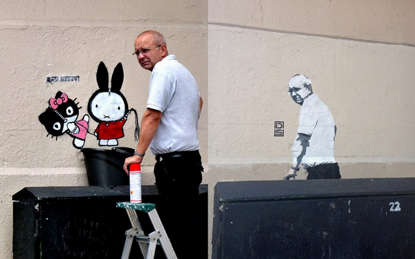 """@realmcla: ""@vincentdignan: Graffiti removal guy comes back to discover image of himself in the same spot: http://t.co/T2pzzkyYBj""""HAAAAA"