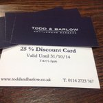 Calling all Students Get 25% off @ToddAndBarlow when u find one of these cards #sheffieldfreshers #sheffieldissuper http://t.co/5wOXspDjJa