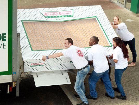 Sweet tooth alert: Krispy Kreme's 2,400-doughnut box. (Photo: Krispy Kreme) http://t.co/qFX8ESRulc http://t.co/QOUvWcP49r