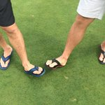 So apparently Russians golf in flip flops. Check out Alex and Antons shoes @CanesKNCF #Canes http://t.co/j27zHY8F9U