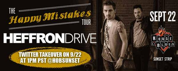 Spread the word! @HeffronDrive is taking over our Twitter account TODAY at 1PM PST! Use the hashtag #HeffronHOB. RT! http://t.co/btUKBx7MyD