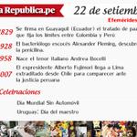 #EfeméridesLR ¿Qué pasó un 22 de setiembre? http://t.co/eZqEtrIcsS