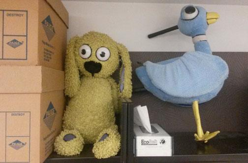 Knuffle Bunny and Pigeon patiently await archival processing along with Mo Willems' papers http://t.co/PPOv7CEme3 http://t.co/MD5Sc44w0n