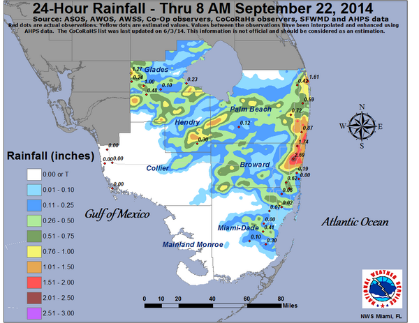 Here is your 24 hour south florida rainfall map for the period