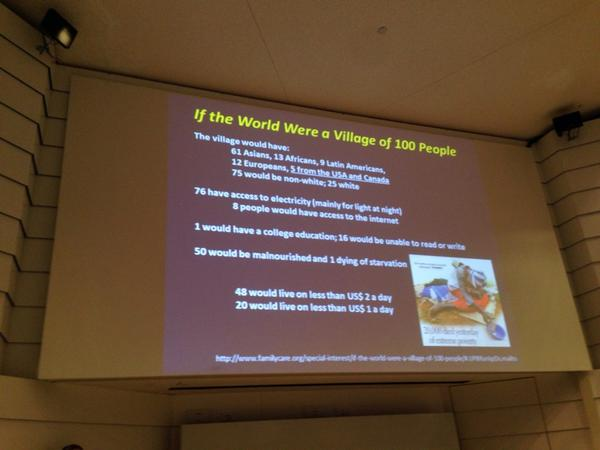 """If the world were a village if 100 people"" - Wow, some amazing stats @UMKelloggEye International Night http://t.co/3znpK79tfe"