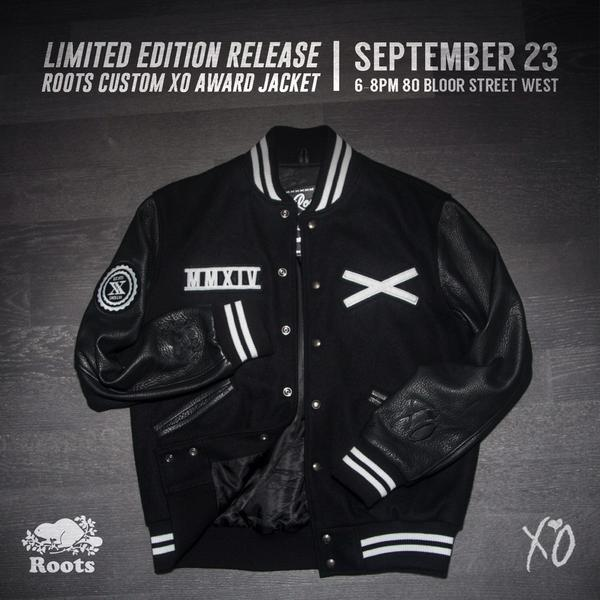 Our limited edition release of the Roots Custom XO Award Jacket, tomorrow only! @theweeknd @OFFICIALISSUEXO http://t.co/OP5tvqc9St