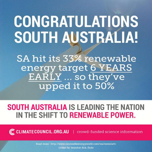 People of #southaustralia - we've UPPED our #renewables target to 50%! via @climatecouncil #saparli http://t.co/hVzMqCVVBY