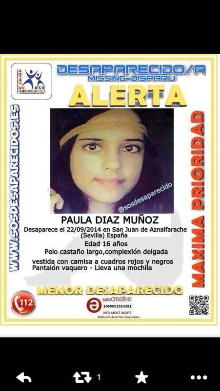Paula, a esta hora, sigue desaparecida. Os ruego máxima difusión y ayuda a su familia que vive una angustiosa espera. http://t.co/i2M3Ijk5gY