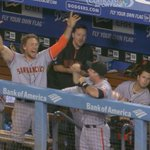 RT @AhmedFareedCSN: Pence & Buster. Very different ways of expressing joy. #SFGiants take 5-2 lead http://t.co/8fmuncvE0q