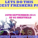 RT @SheffiStudents: 3 days to go! Undoubtedly the biggest #Freshers event in #Sheffield this weekend! #sheffieldfreshers #Students #Party http://t.co/XXwUv6bN86