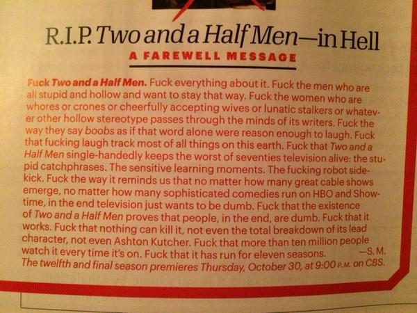 """@NickdeSemlyen: You have to admire this review of Two And A Half Men in @Esquiremag. http://t.co/bDJvPchhJ6"""