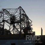 صور لحطام طائرة تابعة لقوات التحالف الدولي بعد اصطدامها ببرج الاتصالات في مدينة الرقة http://t.co/Q0EebPatZP