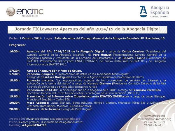 RT @ENATIC1: Acércate a compartir con #ENATIC Jornada especial #TICLawyers del 1 Oct en @Abogacia_es #AgendaENATIC ¡Te esperamos! http://t.co/CJ5KBhp5iO