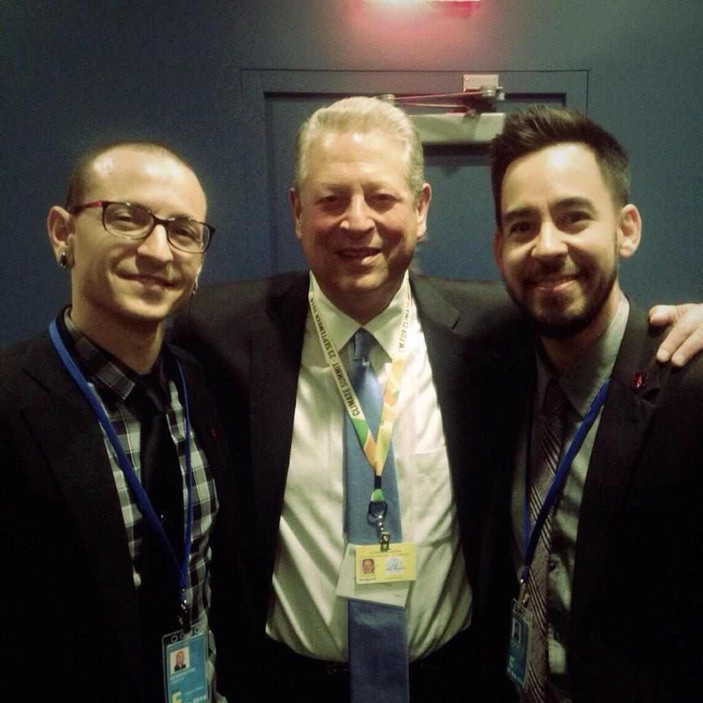 RT @linkinpark: At #Climate2014 Summit: @ChesterBe and @mikeshinoda with @AlGore http://t.co/IMOvP3CeNm