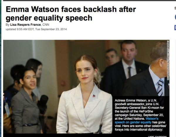 "Dear @CNN: Emma Watson is not getting ""backlash""-she is getting threats, hatred, intimidation http://t.co/OQ8G2ZnJAS http://t.co/FMeqAj8smn"