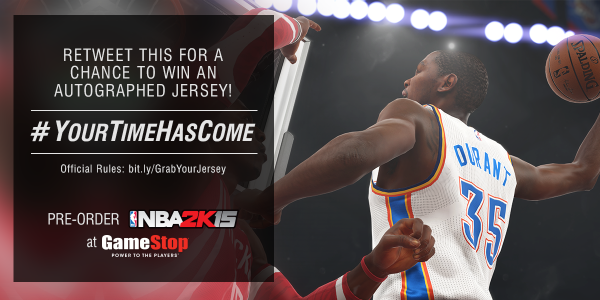 GameStop (@GameStop): #YourTimeHasCome to RT this for a chance to win an autographed Kevin Durant jersey! Rules: http://t.co/dqgW240PC3 http://t.co/7NeTkMOSHV