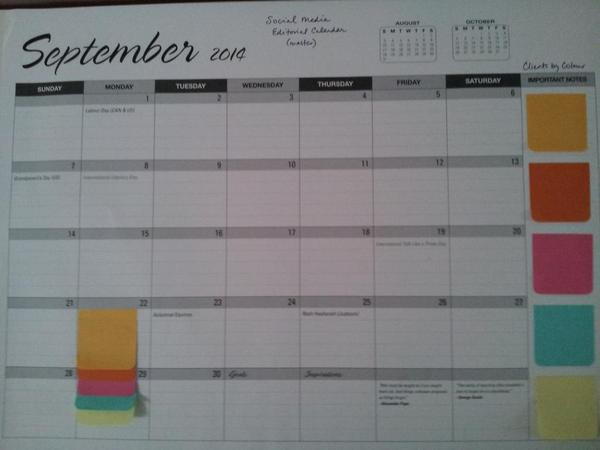 RT @ClaireSMBB: Here's my calendar I created just yesterday; colour per account/client. Ol'school & visual :) #bizheroes http://t.co/T8TH76ogxl
