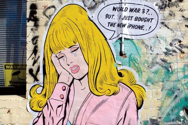 Pretty timely piece of #streetart what do you think about the take on consumerism? http://t.co/I8ASVbtkFN