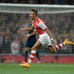 RT @Arsenal: .@Alexis_Sanchez wheels away to celebrate his perfect free-kick #AFCvSFC http://t.co/BsdQ59Rznl
