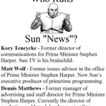 "RT @celialewis: holy cow! ""@MeanwhileinCana: Guess who runs Sun ""News""? Arent you all just SHOCKED?! #cdnpoli http://t.co/li0w3igP9C"""
