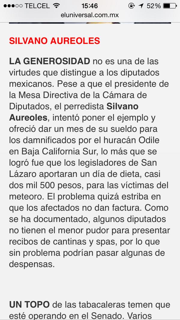 "Vivian Silberstein (@vsilberstein): ""@veronicalderon: Los diputados de #México se negaron a donar su salario a  víctimas de Odile. http://t.co/bFhPCZrJGe"" nada nuevo! Q pena"