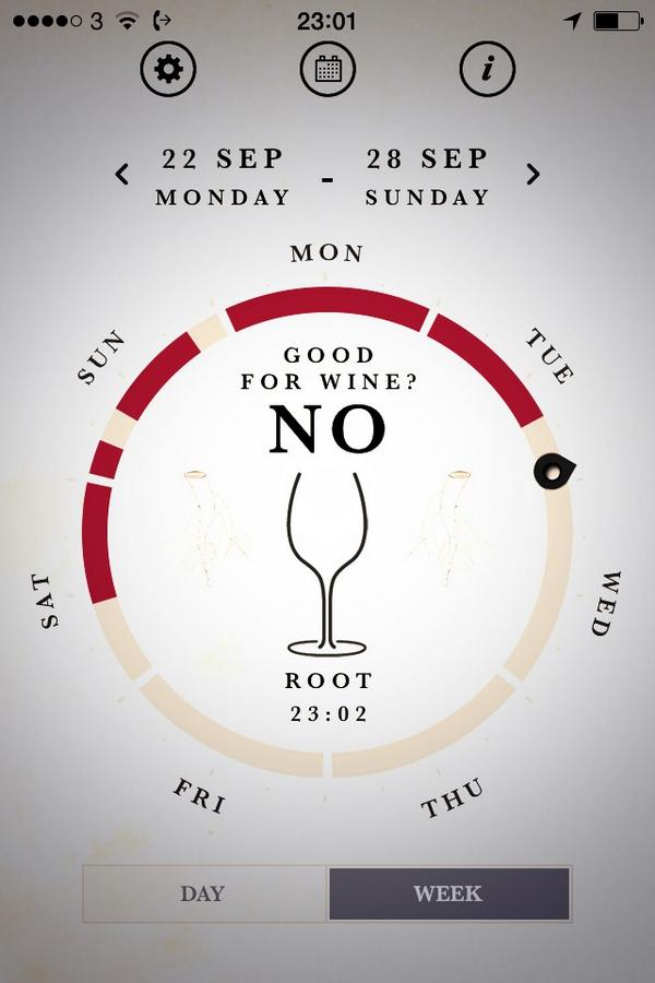 Best not drink wine for the rest of the working week says the biodynamic app... http://t.co/v2oSSJoOUJ