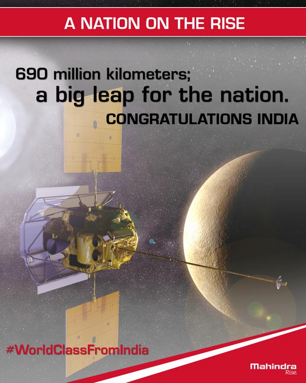 #Mangalyaan creates history! 1st country with a successful mars mission in the first go! Congratulations India. http://t.co/Ha5b3OVeRb
