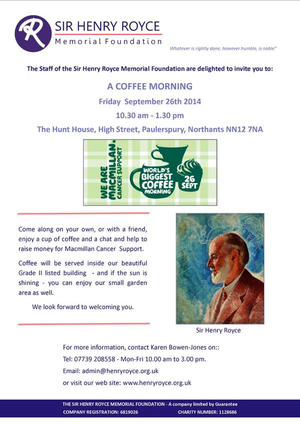 test Twitter Media - Don't forget to come to our #Macmillan #Coffee morning this Friday - the #Hunt #House, #Paulerspury. http://t.co/fg78dT3Q0d