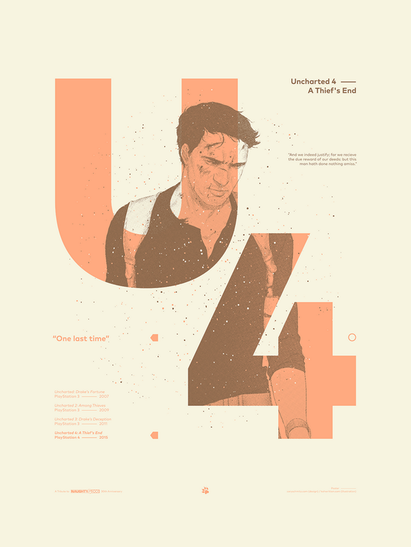 Uncharted 4 poster for @naughty_dog & @gallerynucleus! Collaboration with @_PromKnight. http://t.co/n5Won9tX0v / http://t.co/OgoWlNUykL