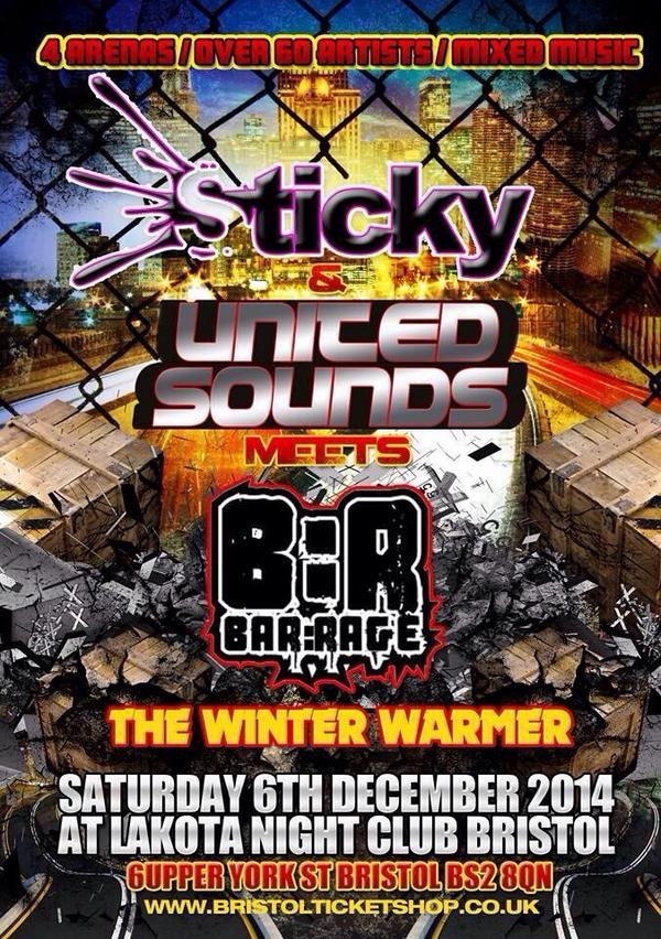 Sticky meets united sounds n bar rage http://t.co/0IdCh8UrAx