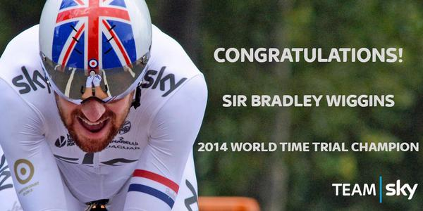 Sir Bradley Wiggins is the 2014 WORLD TIME TRIAL CHAMPION! What a ride Wiggo! #Ponferrada2014 http://t.co/UTI94HUw64
