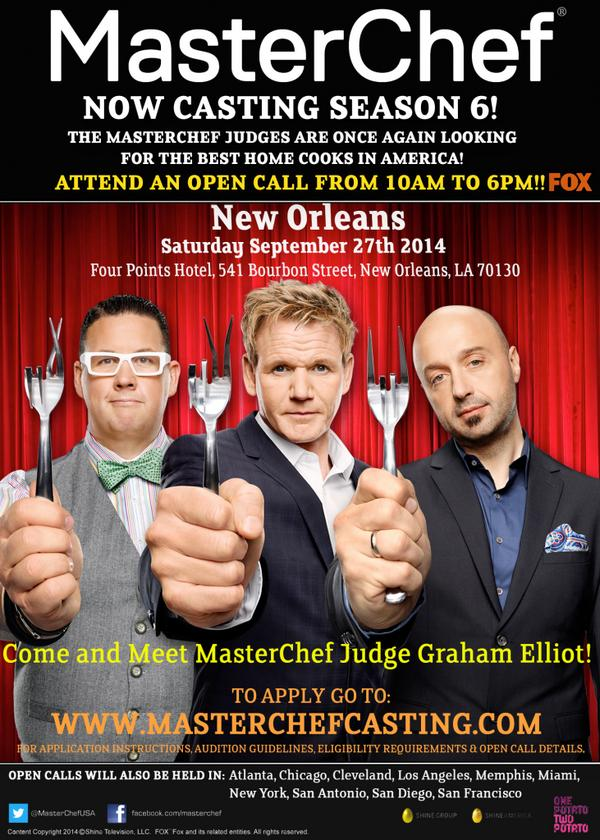 @HumidCity Calling all Home Cooks in New Orleans! @MasterChefUSA is coming on 9/27! @grahamelliot will be there! http://t.co/bMz1zruP9W