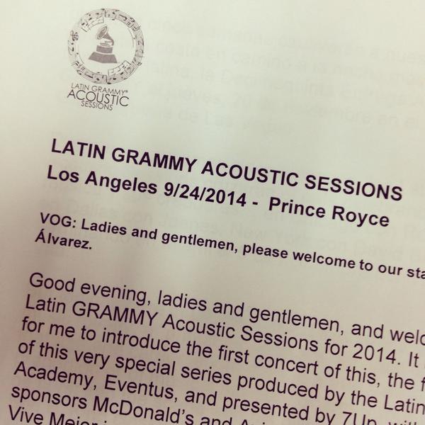 Listo para presentar a @princeroyce en el @latingrammys #AcousticSessions in LA. Gracias a mi familia de la Academia! http://t.co/FCOVAcZvri