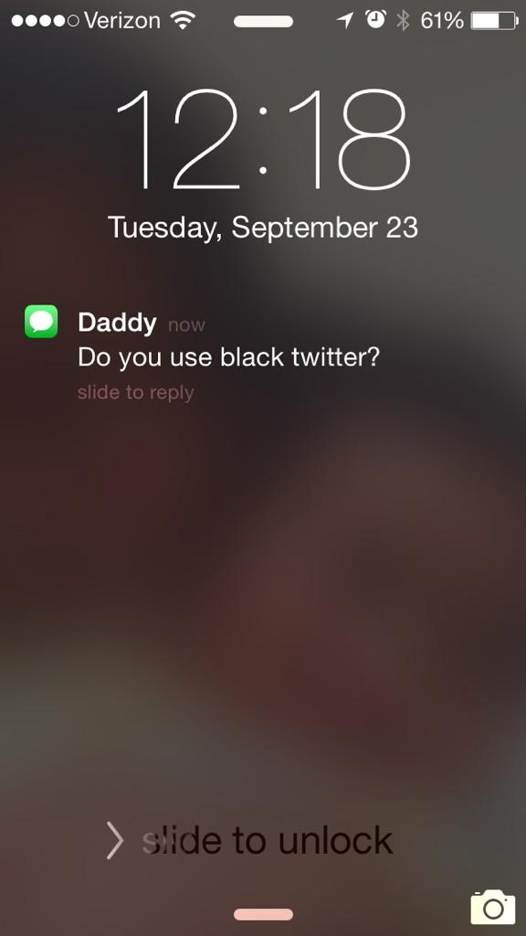 "My dad over text: ""do you use Black Twitter?"" Me: tears! Lol #parentssaythedarndestthings http://t.co/IbxfZgGEP6"