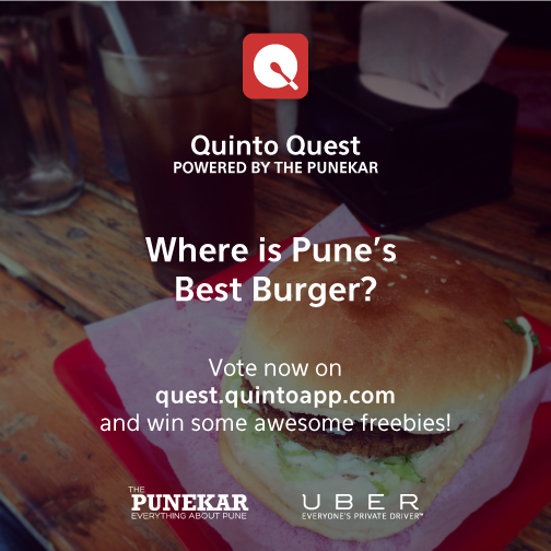 Today, Pune shall vote on Pune's best burger. Say hi to @Quintoapp Quest, powered by @punekar! http://t.co/F7FfGikeWI http://t.co/uswTJbkewo