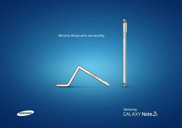 """Bend to those who are worthy"" says @samsung http://t.co/AMwk1tNtqb"