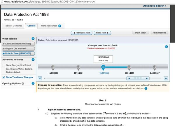 Ooh.. UK legislation now has view to show version of an Act at particular points in time.. Diffs next?! http://t.co/YNDZCTB69o