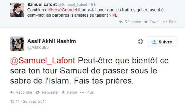"""Menacé de mort par un islamiste : """"ce sera ton tour Samuel de passer sous le sabre de l'Islam. Fais tes prières."""" http://t.co/hvDwhUwgrs"""
