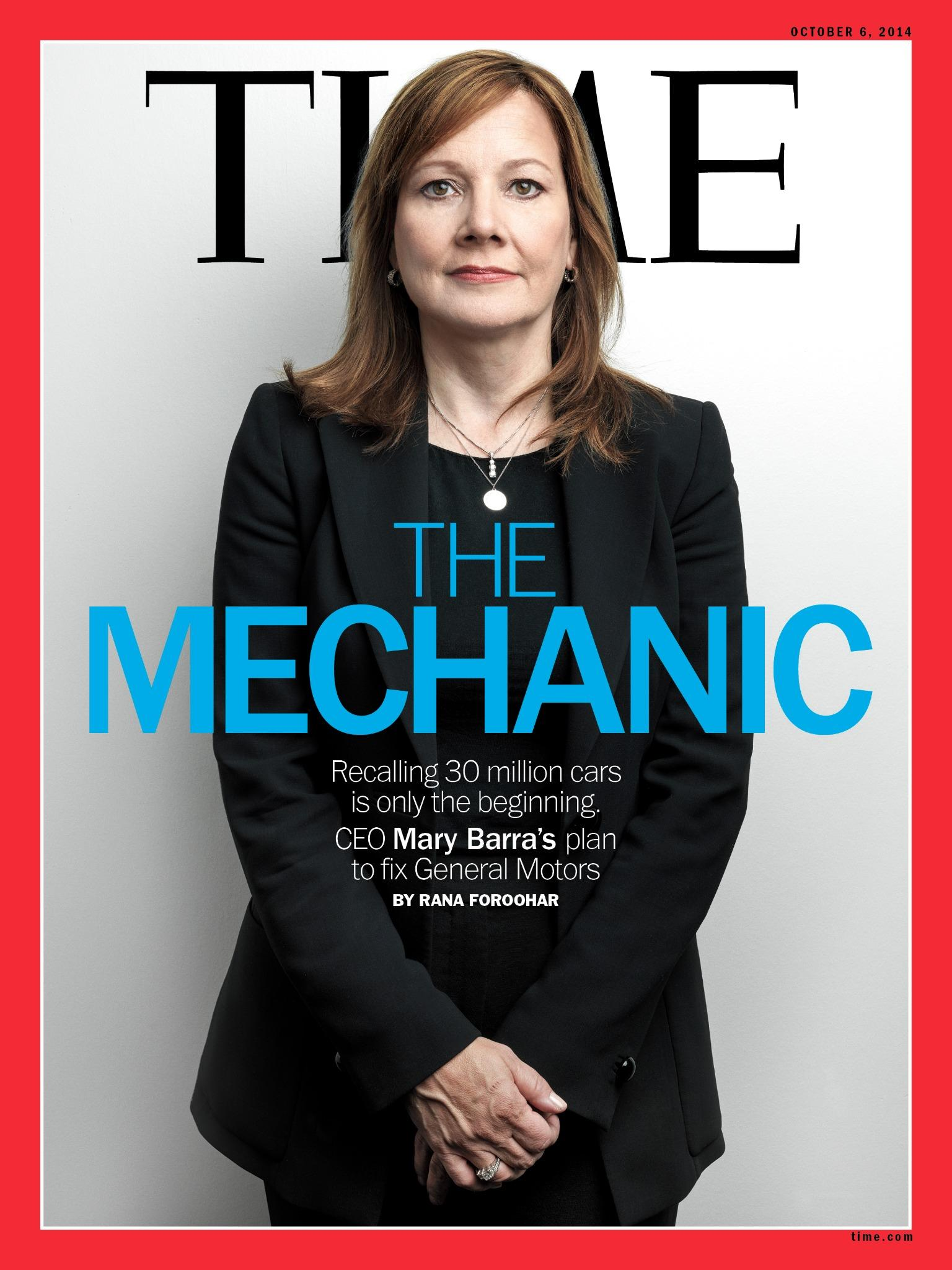 RT @TIME: TIME?s new cover: The Mechanic. CEO Mary Barra?s plan to fix General Motors http://t.co/ic90CUmSv6 http://t.co/ctNFu08x9k