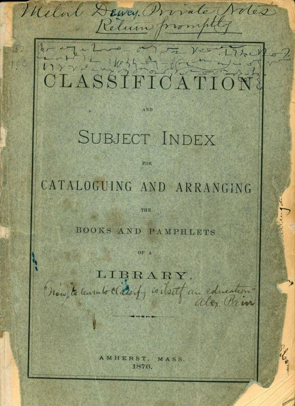 Dewey Classification dated 1876 on display in OCLC Museum (OCLC Library, Dublin, OH). #TBT http://t.co/2WhXkmWoj7 http://t.co/uPkEfyAZdV